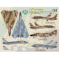 DECAL PARA F-14A, F-4D 3, F-4E IRANIANOS FCM 1/48