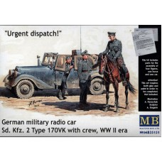 URGENT DISPATCH, GERMAN MILITARY RADIO CAR, WWII ERA MASTER BOX 1/36