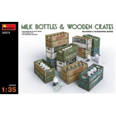 MILK BOTTLES E WOODEN CRATES MINIART 1/35
