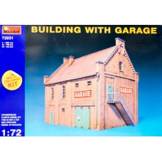 BUILDING WITH GARAGE MULTI COLORED KIT MINIART 1/72