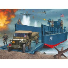 LCM 3 50FT LANDING CRAFT & JEEP W/ TRAILER REVELL 1/35